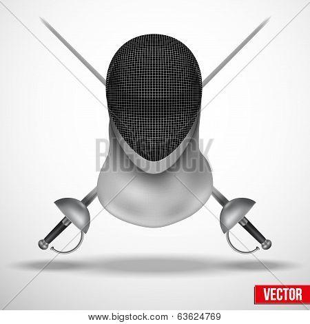 Fencing mask vector background illustration
