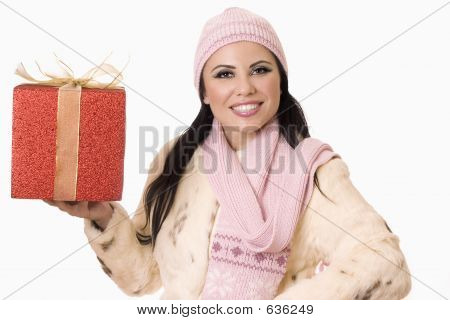 Pretty Woman With Gift (or Your Product)