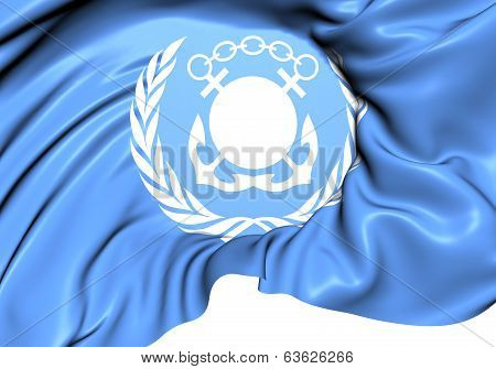 Flag of International Maritime Organization (IMO). Close Up. poster