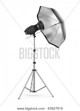 Studio strobe light flash with umbrella. 3d