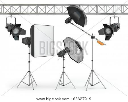 Photo studio equipment  on white isolated background. 3d