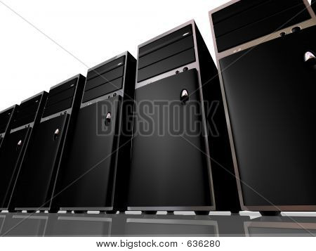 A line of sleek black computer servers as though in a farm, cluster, or sales display poster