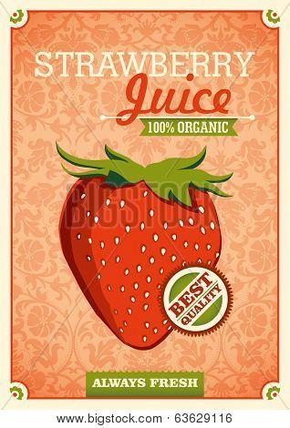 Vintage strawberry juice poster. Vector illustration.