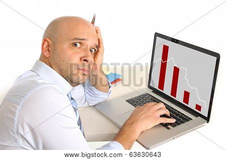 Worried Business Man In Stress Watching Sales And Finance Collapse