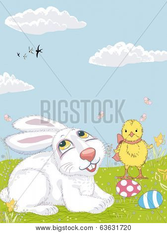 Easter bunny and chicken on the lawn poster