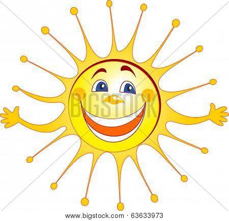 Happy sun cartoon
