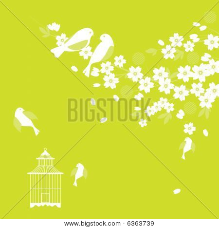 Sakura and Birds (Cherry Blossom)
