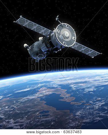 Spacecraft Orbiting Earth.