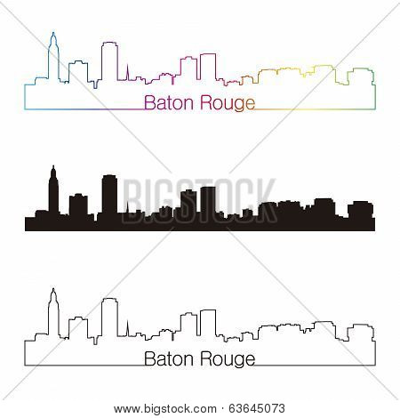 Baton Rouge Skyline Linear Style With Rainbow