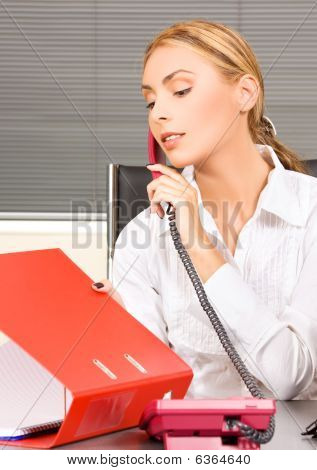 picture of lovely girl with phone in office poster
