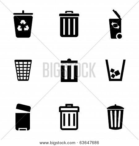 Vector black trash can icons set