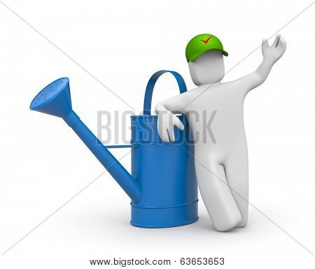 Manual worker. Isolated on white