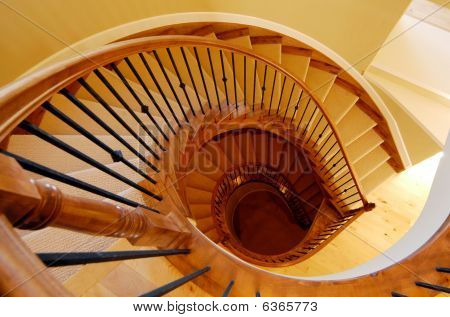 Top view of spiral staircase