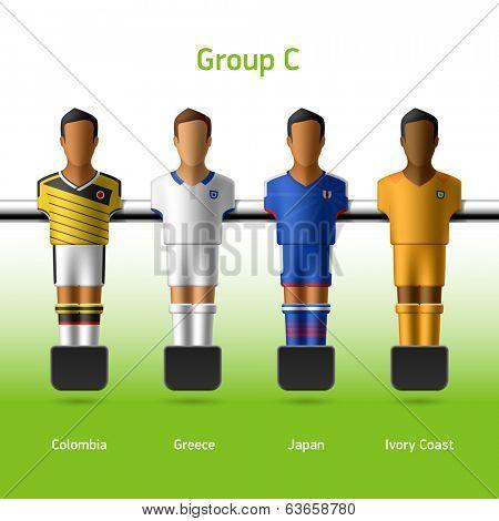 Table football / foosball players. Group C - Colombia, Greece, Japan, Ivory Coast. Vector.