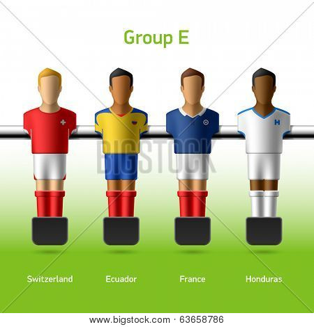 Table football / foosball players. Group E - Switzerland, Ecuador, France, Honduras. Vector.