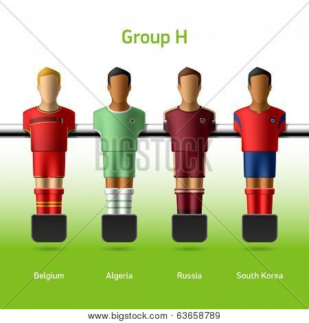 Table football / foosball players. Group H - Belgium, Algeria, Russia, South Korea. Vector.