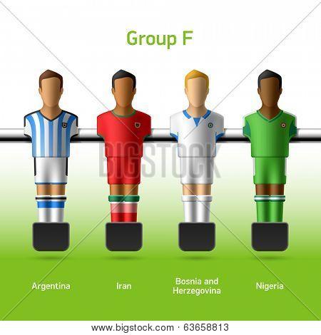 Table football / foosball players. Group F - Argentina, Iran, Bosnia and Herzegovina, Nigeria. Vector.