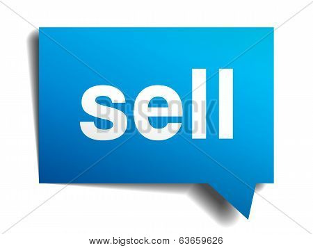 Sell Blue 3D Realistic Paper Speech Bubble Isolated On White