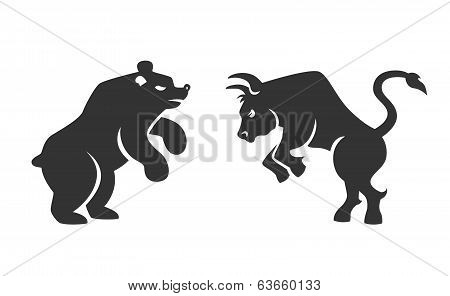 Vector black silhouette bull and bear financial icons depicting the market trends of stocks and shares on the bourse  vector illustration isolated on white poster