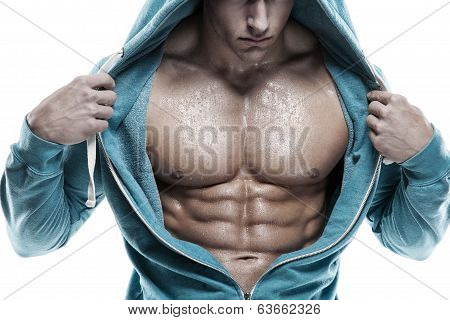 Strong Athletic Man Fitness Model Torso Showing Six Pack Abs. Isolated On White Background