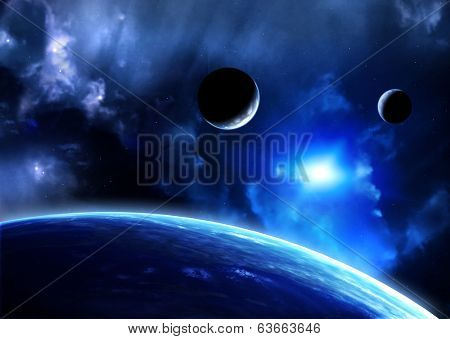 poster of Space flare. A beautiful space scene with planets and nebula