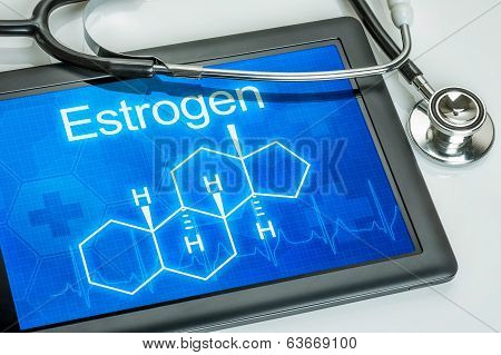 Tablet with the chemical formula of estrogen
