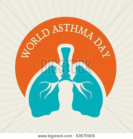 World Asthma Day sticker, tag or label design with human lungs and stylish text.