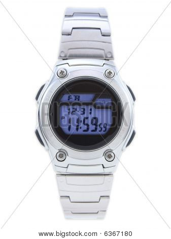 Digital Dress Watch With Blue Face