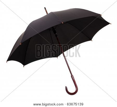 Open Black Umbrella Isolated on a White Background.