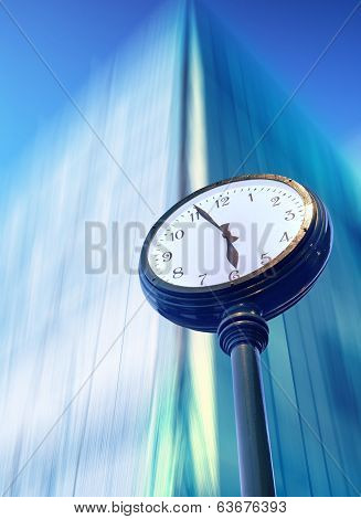Passing time street clock  with bussines center poster