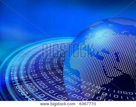 Órbitas de datos azul digital