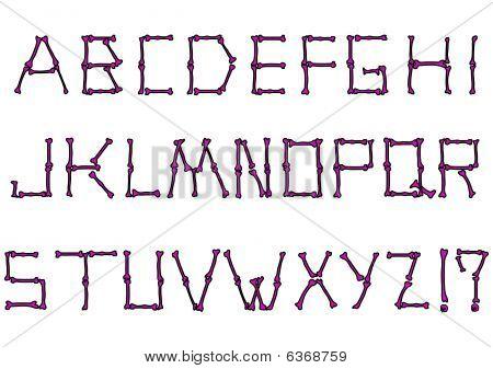 Vector alphabet set made from bones