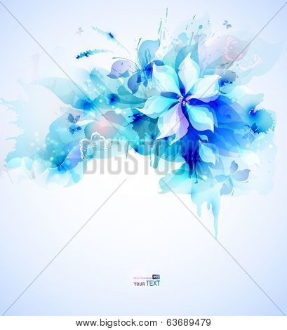 Light abstract blue poster with flower bouquet poster