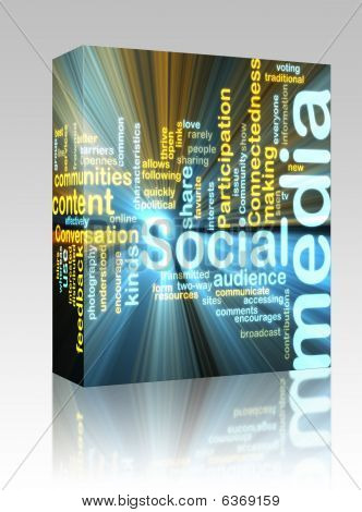Sociale Media Wordcloud gloeiende Box-pakket