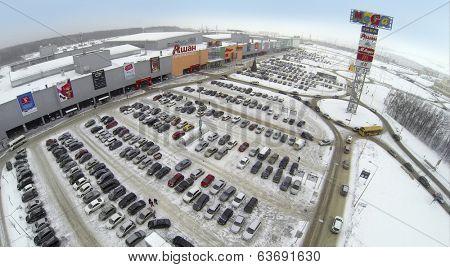 SAMARA, RUSSIA - JAN 05, 2014 : Aerial view to territory of store Mega in Samara with car parking.