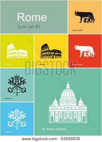 Landmarks of Rome. Set of flat color icons in Metro style. Editable vector illustration.