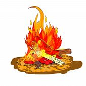 Camp fire flame burn with fireplace wood and stones sketch isolated emblem vector illustration poster