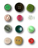 Image of buttons series on white background poster