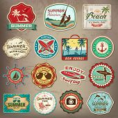 Collection of vintage retro grunge summer labels, labels, badges and icons poster