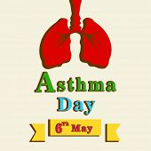 World Asthma Day concept with healthy human lungs and colorful text on abstract background.  poster
