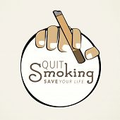 Sticker, tag or label design with cigarette in human hands and text Quit Smoking save your life.  poster