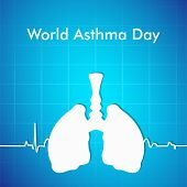 World Asthma Day concept with illustration of human lungs on blue background.  poster