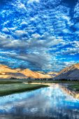 HDR (high dynamic range) image of Nubra river in Nubra valley in Himalayas, Hunder, Ladakh, India poster