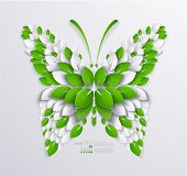 decorative butterfly formed leaves. Paper design poster