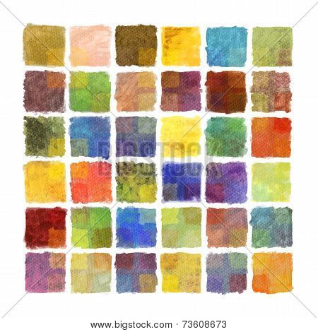 Colorful paint square background on watercolor paper