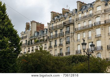 Haussmann Buildings And Their Facades On Ile De La Cité, Paris, France