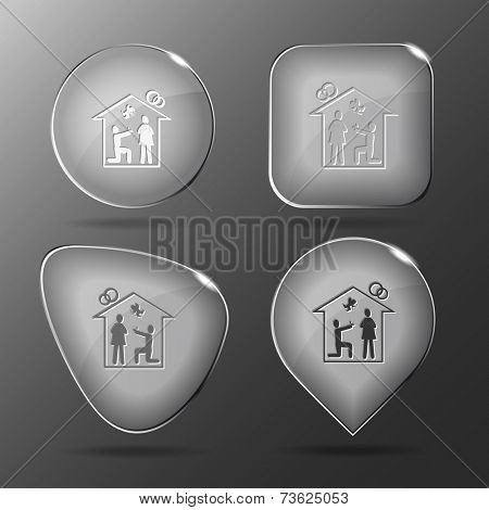 Home affiance. Glass buttons. Vector illustration.