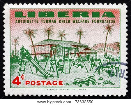Postage Stamp Liberia 1957 Orphanage And Orphanage Playground