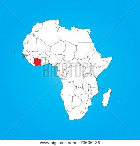 Map Of Africa With A Selected Country Of Cote Divoire