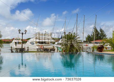 Swimming Pool View At Warf Marina, Seychelles, Mahe